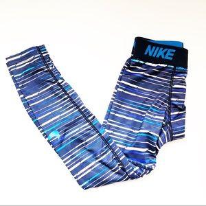 {EUC} Boys Blue/Multi Compression Dri-Fit Pants